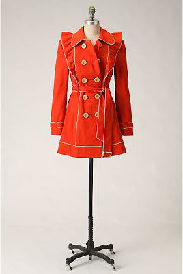Leifsdottir Cherry Vanilla Trench Double Breasted Waist Tie Trench Coat Size 8 - Designer-Find Warehouse - 1