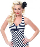 Unique Vintage Navy & White Striped Dinah One Piece Swimsuit Size XS - Designer-Find Warehouse - 2