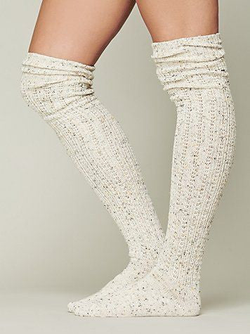 Free People Oatmeal Speckled Thigh High Knee Socks - Designer-Find Warehouse