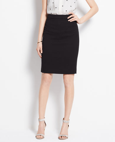 Ann Taylor Black Textured Pencil Skirt Size 2 - Designer-Find Warehouse