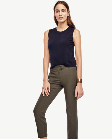 Ann Taylor Devin Flat Front Green Cropped Ankle Dress Pants Size 4 - Designer-Find Warehouse