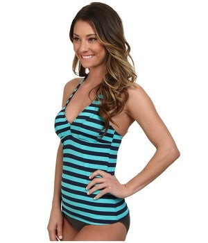 Carve Designs Swimwear Womens Blue Striped Timor Monaco Tankini Top Size Large - Designer-Find Warehouse - 1