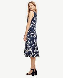 Ann Taylor Navy Tropical Swaying Midi Dress Size Medium - Designer-Find Warehouse - 1