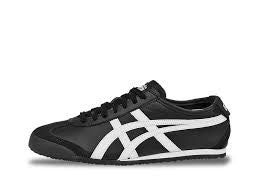 ASICS Ontisuka Tiger Womens Black Mexico 66 Leather Lace Up Trainer Size 8 - Designer-Find Warehouse - 1