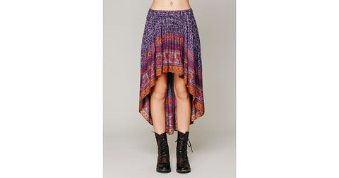 Intimately Free People Purple Border Print High Low Skirt Size Small - Designer-Find Warehouse - 1