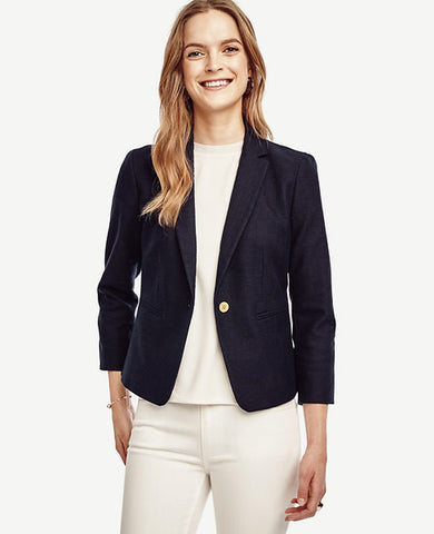 Ann Taylor Blue Textured Single Button Blazer Jacket Size 6 - Designer-Find Warehouse
