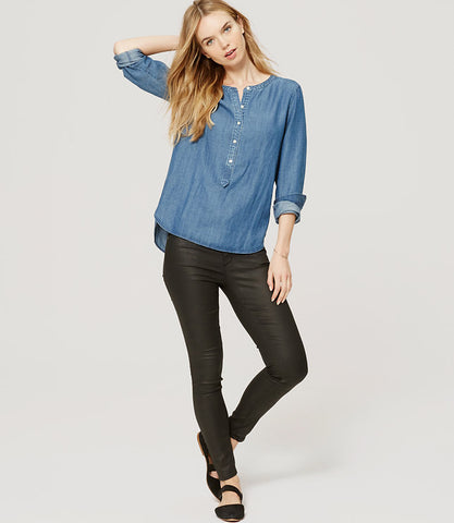 Ann Taylor LOFT Blue Collarless Chambray Softened Shirt Size Medium - Designer-Find Warehouse - 1