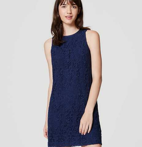 Ann Taylor LOFT Blue Tall Lace Shift Dress Size 6T - Designer-Find Warehouse - 1