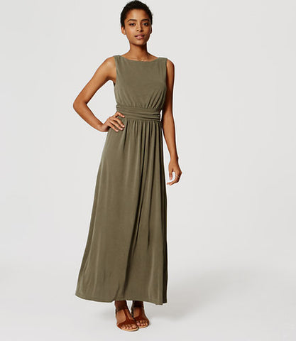 Ann Taylor LOFT Green Ruched Maxi Dress Size Large - Designer-Find Warehouse