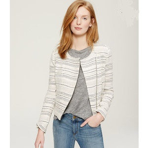 Ann Taylor Loft Ivory Striped Tweed Moto Jacket Size 8 - Designer-Find Warehouse - 1
