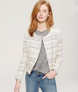 Ann Taylor Loft Ivory Striped Tweed Moto Jacket Size 4 - Designer-Find Warehouse - 1