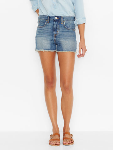 Levi's Juniors Silvery Blue High Rise Denim Jean Shorts Size 5 - Designer-Find Warehouse - 1