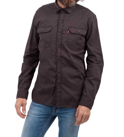 Levi's Mens Gray Dark Phantom Overdye Button Front Long Sleeve Size Medium - Designer-Find Warehouse - 1