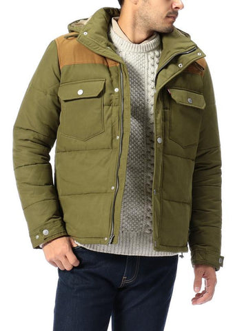 Levi's Mens Olive Green Stitch Hooded Thick Jacket Coat Size Medium - Designer-Find Warehouse - 1