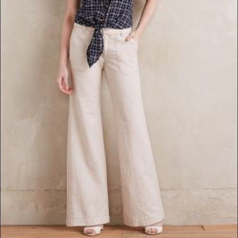 Anthropologie Eleveneses Ivory Linen Wide Leg Casual Pants Size 0 - Designer-Find Warehouse