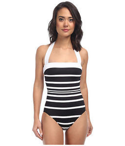 Ralph Lauren Womens Black Kaylee Stripe Bandeau Mio One Piece Swimsuit Size 10 - Designer-Find Warehouse - 1
