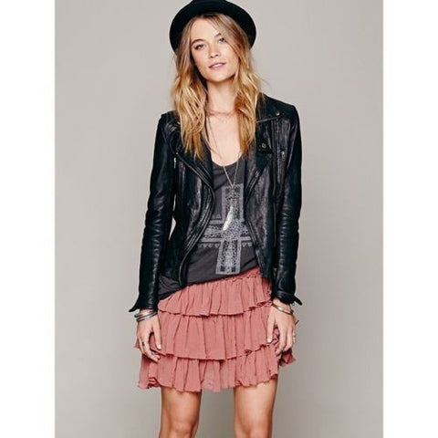 Free People Pink Project Castaway Ruffle Asymmetrical Mini Skirts Skirt Size S - Designer-Find Warehouse
