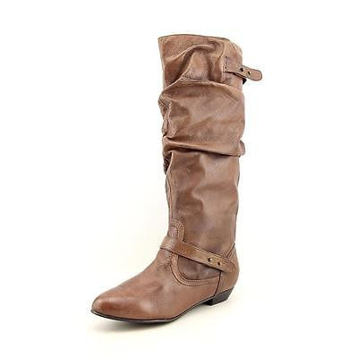 Steve Madden Brown Leather Kikii Slouch Riding Boots Size 7.5 - Designer-Find Warehouse - 1