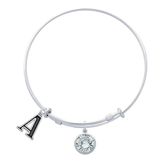 Sterling Silver Expandable Bangle Choose Your Initial and Birthstone CZ Charm Made in USA