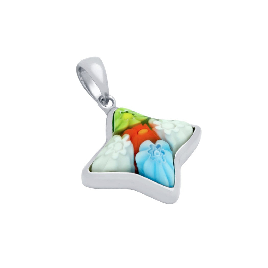 Sterling silver multicolor glass murano millefiori glass pendant sterling silver multicolor glass murano millefiori glass pendant star shaped free 18 mozeypictures Choice Image