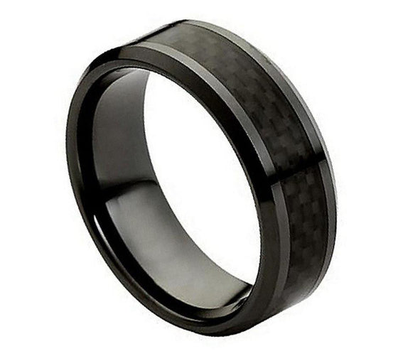 Ceramic Black Carbon Fiber Inlay Ring 8MM
