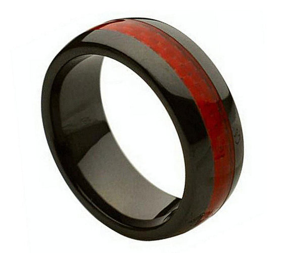 Ceramic Red Carbon Fiber Inlay Ring 8MM
