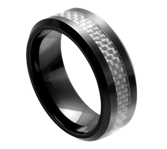 Ceramic White Carbon Fiber Inlay Ring 8MM