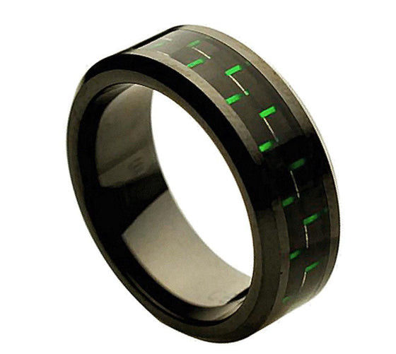 Ceramic Green & Black Carbon Fiber Inlay Ring 8MM