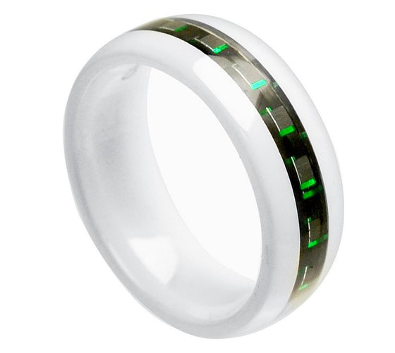 Ceramic White Domed Black & Green Carbon Fiber Inlay Ring 8MM
