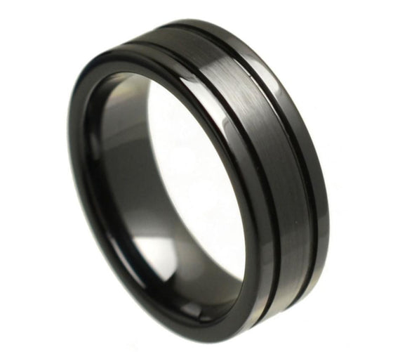 Ceramic Black Flat High Polished Double Grooved Brushed Center Ring 8MM