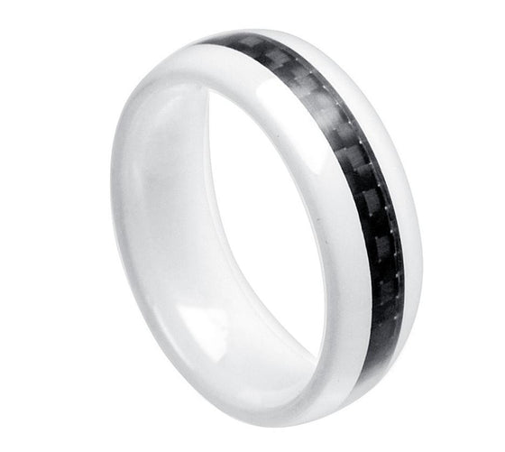 Ceramic White Domed Black Carbon Fiber Inlay Ring 8MM