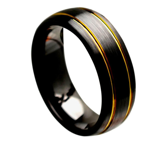 Ceramic Black Domed Brushed Finish 2 Yellow Tone Grooves Ring 8MM