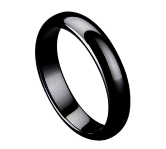 Ceramic Black Domed High Polished Ring 5MM