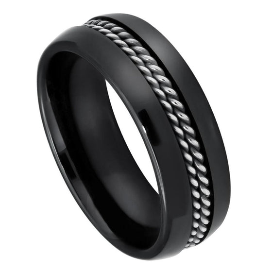 Ceramic High Polished Domed Black Double Rope Stainless Steel Inlay Ring 8MM