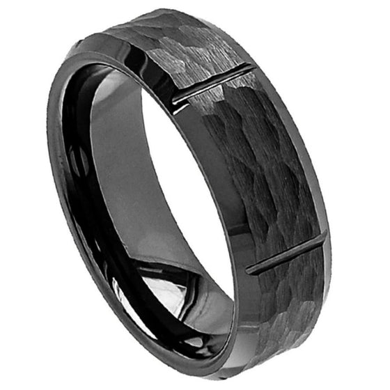 Ceramic Black Hammered Center Vertical Grooves Shiny Beveled Edge Ring 8MM