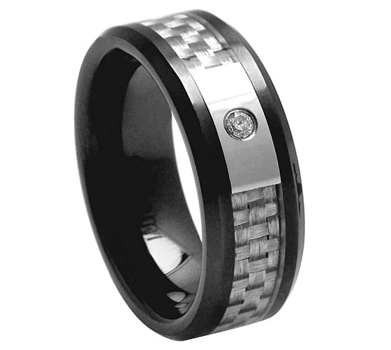 Ceramic Black Grey Carbon Fiber with CZ Center Stone Ring 8MM