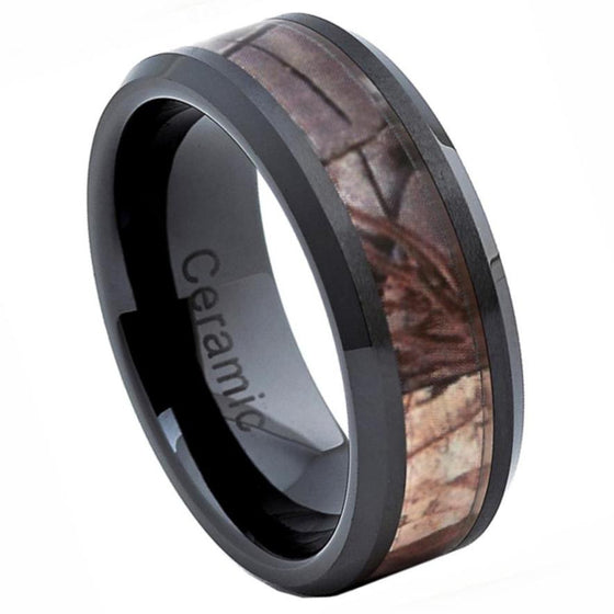 Ceramic Black Ceramic High Polish with Forest Floor Foliage Camo Inlay Beveled Edge 8MM