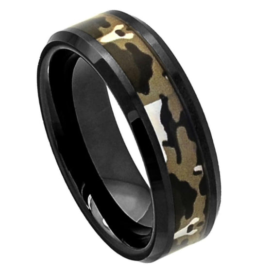 Ceramic Flat Black High Polish with CoMMando Camo Inlay Beveled Edge Ring 8MM