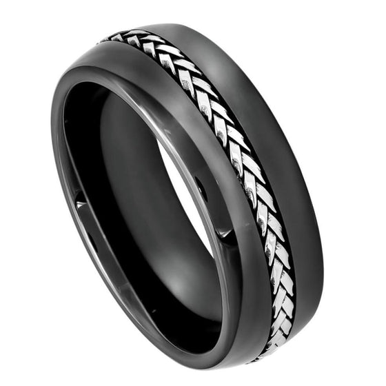 Ceramic High Polished Domed Black Braided Stainless Steel Inlay Ring 8MM