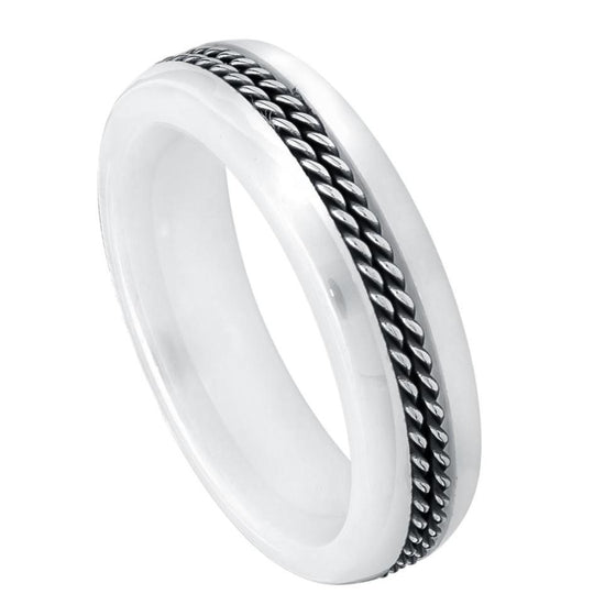 Ceramic High Polished Domed White Double Rope Stainless Steel Inlay Ring 6MM