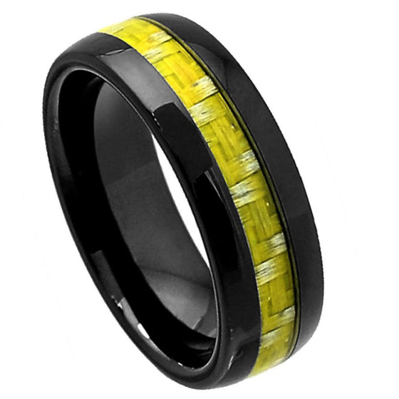 Ceramic Domed Black High Polish Green Bamboo Tone Carbon Fiber Inlay Ring 8MM