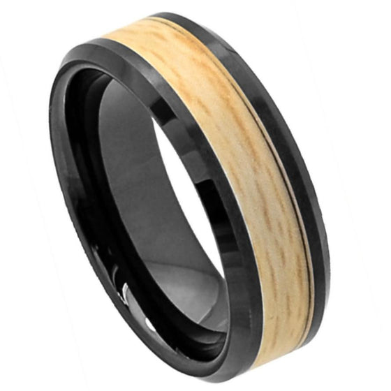 Ceramic Flat Black High Polish Maple Veneer Tone Inlay Beveled Edge Ring 8MM