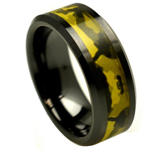 Ceramic Black Beveled Edge Army Green Camouflage Inlay Ring 8MM