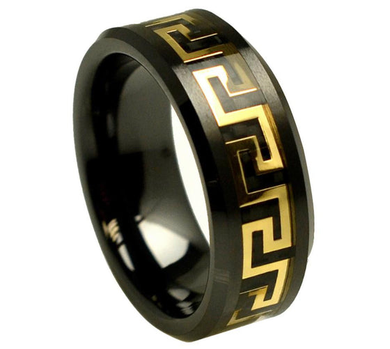 Ceramic Black Beveled Edge Yellow Tone Greek Key Black Carbon Fiber Inlay Ring 8MM