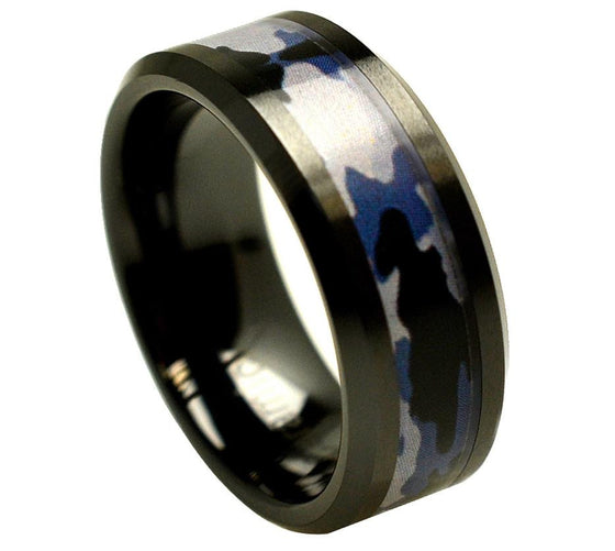 Ceramic Black Beveled Edge Purple Gray Camouflage Inlay Ring 8MM