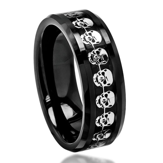 Ceramic Polished Black Carbon Fiber & Cut-Out Skull Symbol Inlay Beveled Edge Ring 8MM