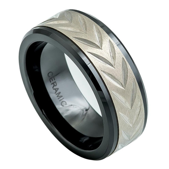 Ceramic & Titanium Fusion Low Beveled Edge Black Carved Arrow Head Ring 8MM