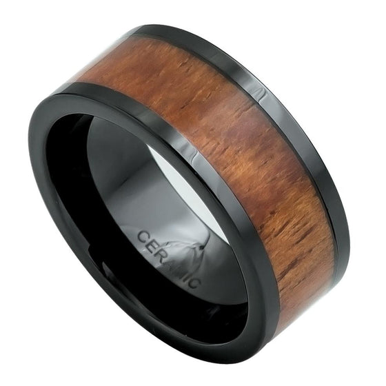 Ceramic Pipe Cut Black Hawaiian Koa Inlay Ring 9MM