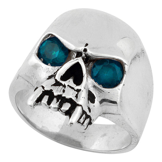 Sterling Silver Vampire of Hell Skull Aqua Blue CZ Eyes