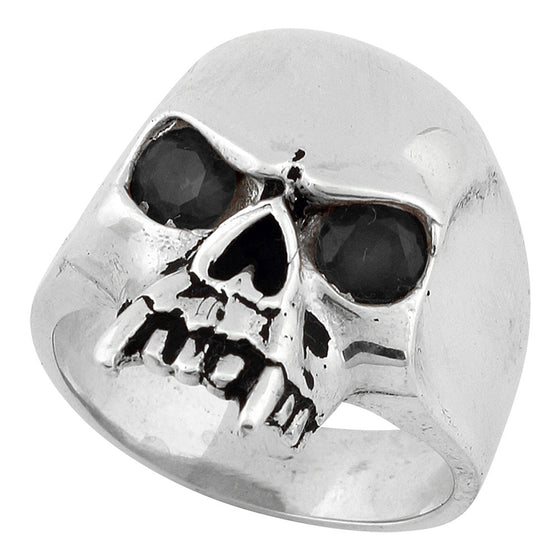 Sterling Silver Vampire of Hell Skull Black CZ Eyes